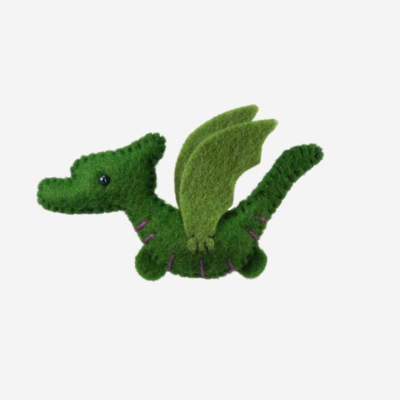 Kleine Filz Freunde Drache grün