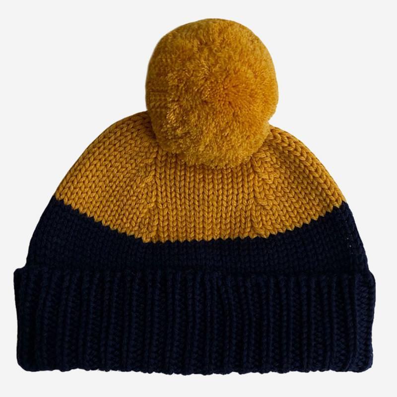 Bommelmütze Otto Merinowolle saffron-indigo