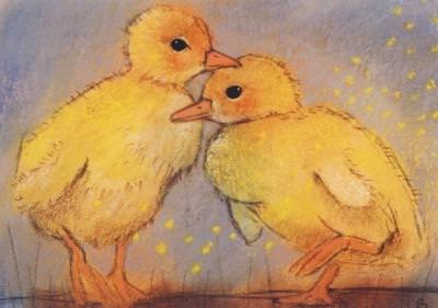 Postkarte Zwei Küken (Botman)