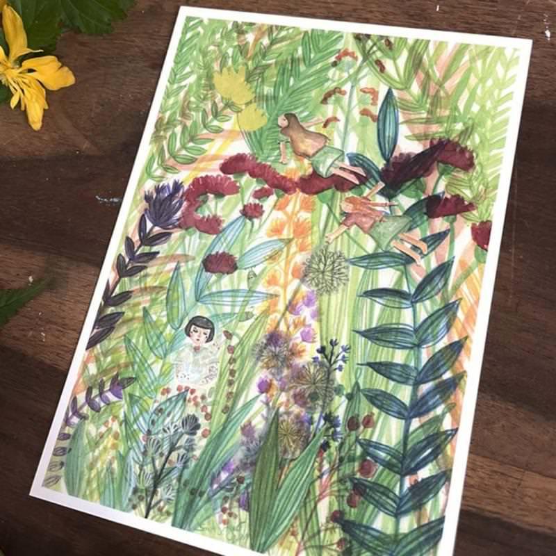 """Postkarte """"Wiese"""" von Sarah Settgast in DIN A6"""