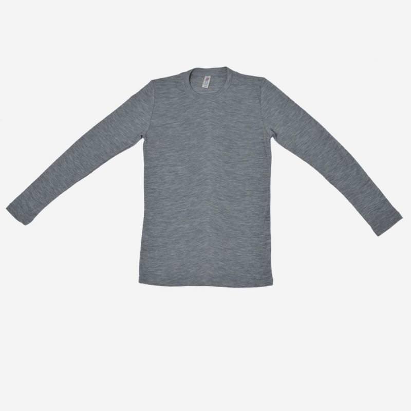 Herren Shirt Wolle/Seide langarm grau