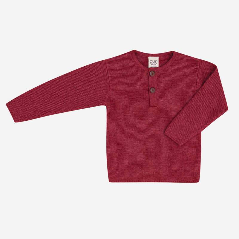 Pullover Henley Baumwolle Wolle red