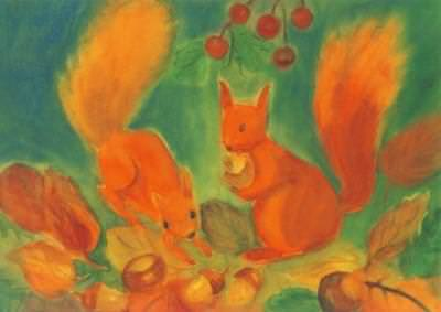 Postkarte Eichhörnchen