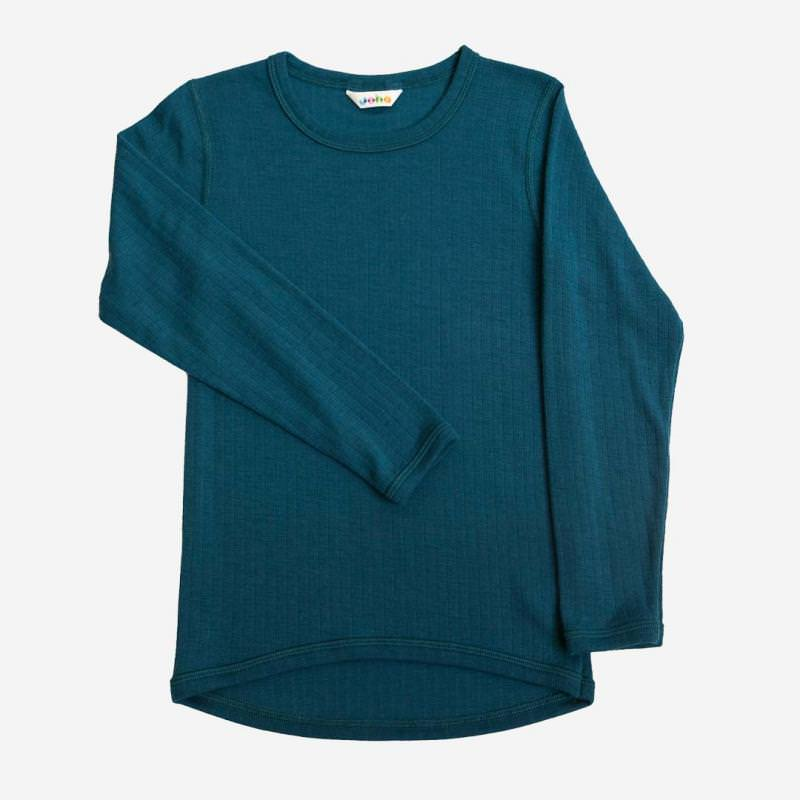 Shirt langarm Merinowolle petrolblau