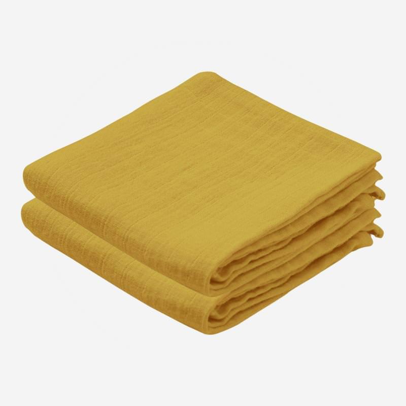 Musselin Tuch 2-er Pack mustard