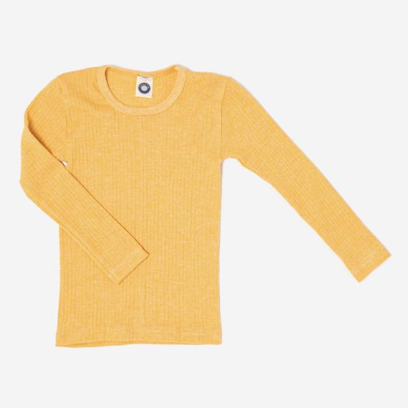 Kinder Unterhemd langarm von Cosilana aus Baumwolle/Wolle/Seide in gelb meliert 1
