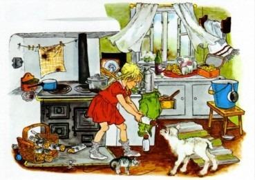 Postkarte Bullerbü Lämmchen füttern