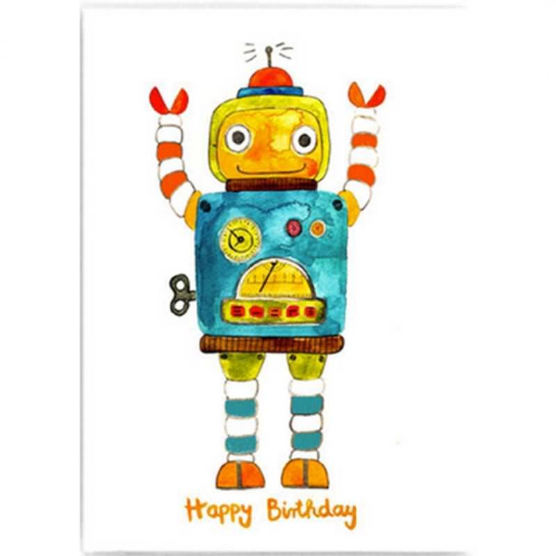 """Postkarte """"Happy Birthday"""" (Roboter)"""
