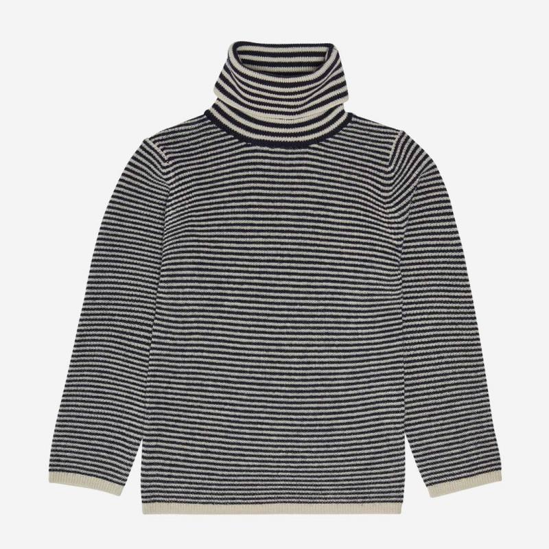 Rollkragen Pullover Wolle ecru/dark navy