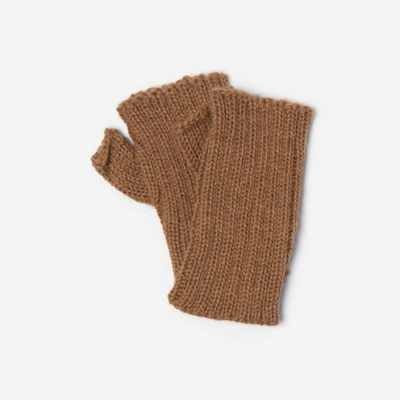 Kinder-Handstulpe Alpaka hellbraun