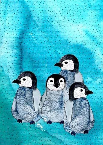 Postkarte Pinguine