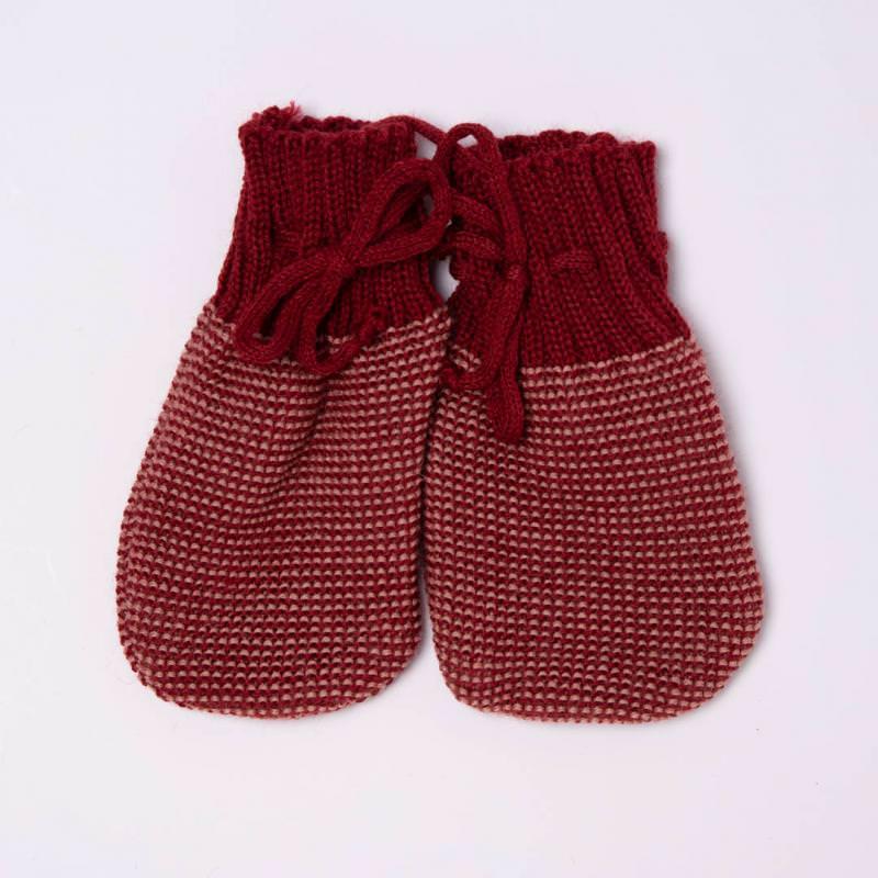 Baby Handschuhe von Disana aus Wolle in bordeaux-rose