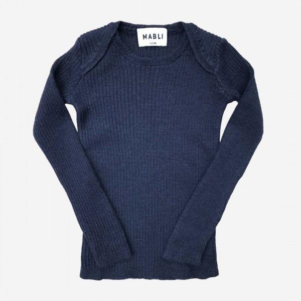 Pullover Skinny Rib Merinowolle navy