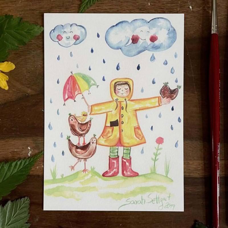 Postkarte Regen von Sarah Settgast in DIN A6
