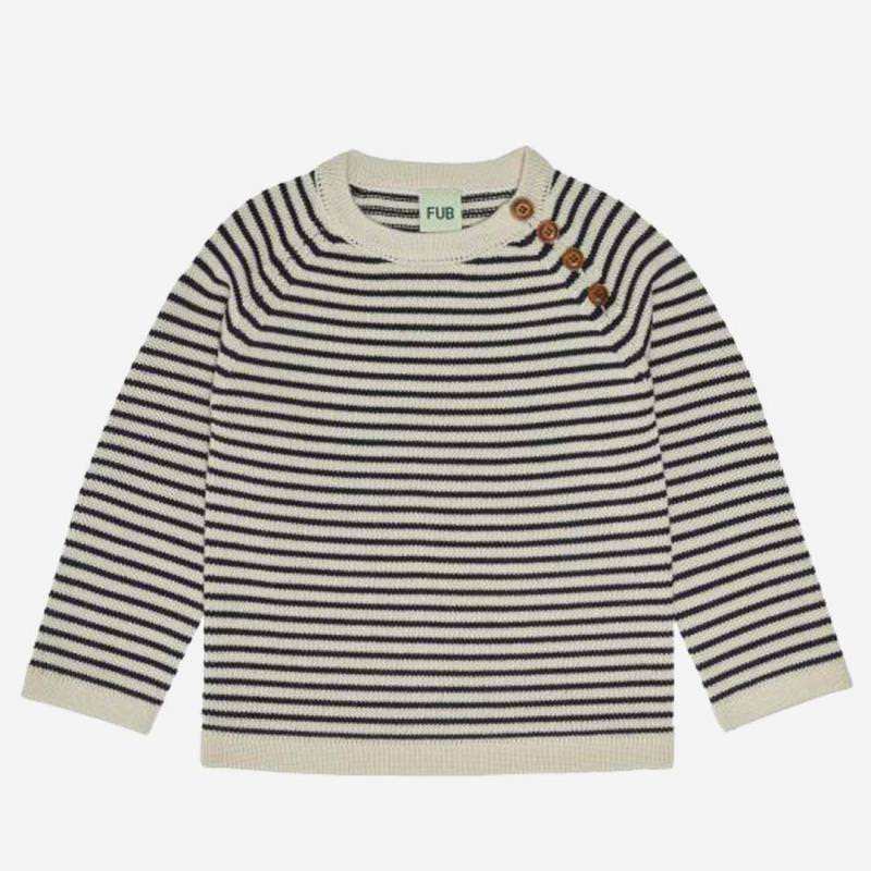 Pullover striped Wolle ecru/dark navy