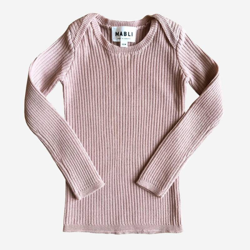 Pullover Skinny Rib Merinowolle blush