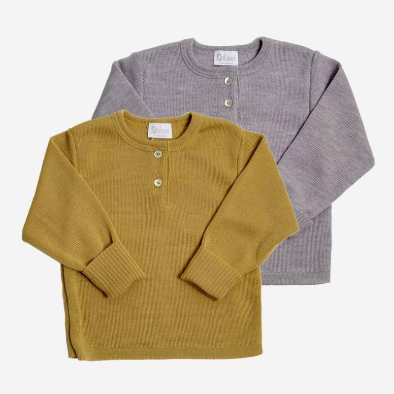 Pullover mit Knopfleiste Wolle