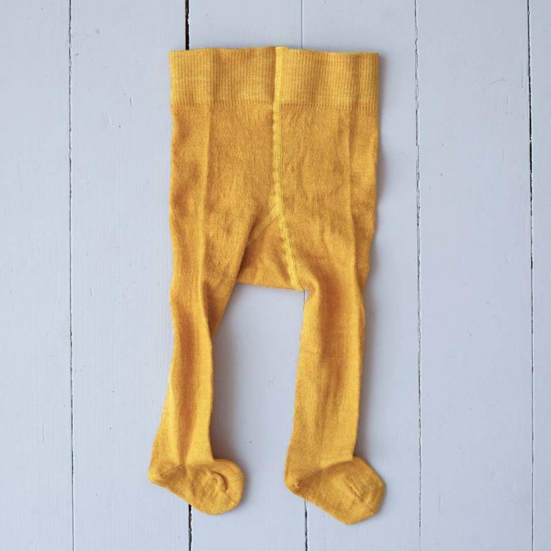 Babystrumpfhose Wolle/Baumwolle messinggelb