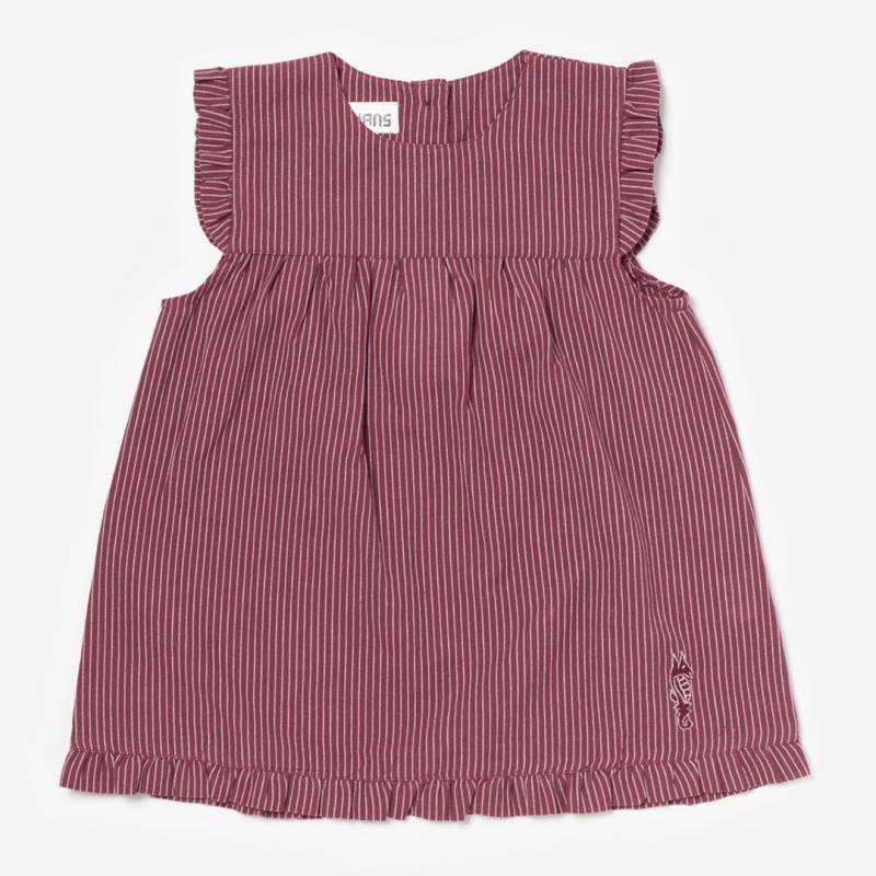 Sommerkleid mit Flügelarm rot/weiß